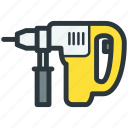 construction equipment, drill, perforator, repair tool icon