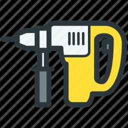 construction equipment, drill, perforator, repair tool icon
