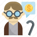 elderly, money, oldman, pension, plan, retirement icon