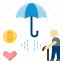 elderly, insurance, life, pension, plan, protection, retirement icon