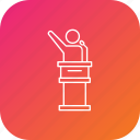 campaign, election, leader, podium, promotion, speaker icon