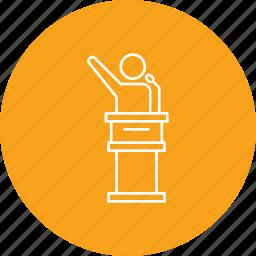 campaign, election, leader, podium, promotion, speaker icon