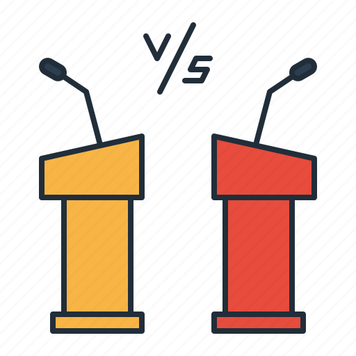 debate, election, leader, live, party, war icon