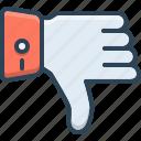 bad, direction, dislike, down, thumbs icon