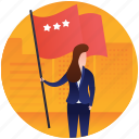 battle flag, holding flag, red flag, star flag, three star icon