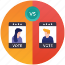 candidate comparison, candidate compétition, candidate progress, competing candidates, political competition icon