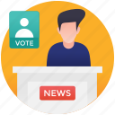 candidate speech, political interview, political news, political speech, public speaking icon