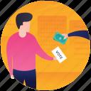 election bribery, illegal voting, purchasing vote, vote bribery, vote selling icon