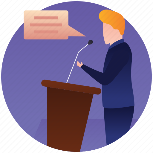 candidate speech, political interview, political speech, presentation podium, public speaking icon