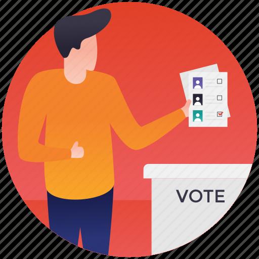 ballot, elections, referendum, vote casting, voting icon