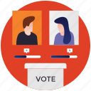 candidate comparison, candidate progress, competing candidates, political competition, success evaluation icon