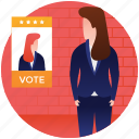 applicant, competitor, election candidate, election female candidate, nominee icon