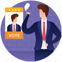 applicant, competitor, election candidate, election male candidate, nominee icon