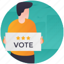 advertisement, candidate campaign, candidate comparison, success evaluation, vote publicity icon
