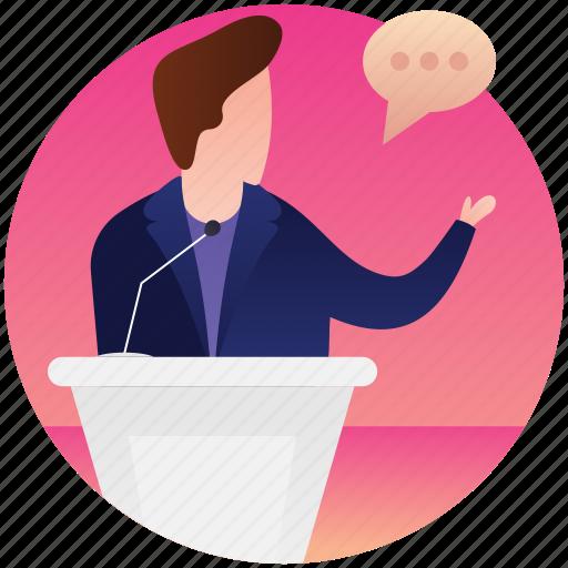 candidate speech, political speech, presentation podium, public speaking, winning speech icon