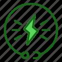 energy, flash, green, power icon