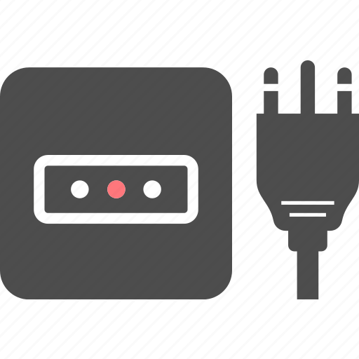 electric, k, outlet, pin, plug, socket, type icon