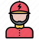 electric, electrician, electricity, electrification, man icon
