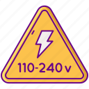 240v, electricity, power, voltage icon