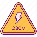 220v, electricity, power, voltage icon