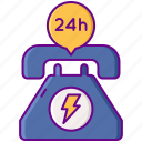 24h, service, support, telephone