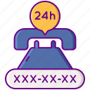 24h, number, service, telephone