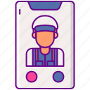 call, electrician, on, phone icon
