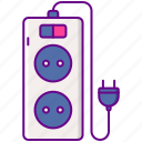 cord, extension, power, socket icon