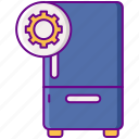 refrigerator, gear, repair, fridge icon