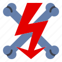 electric, electro, high, voltage, warning icon