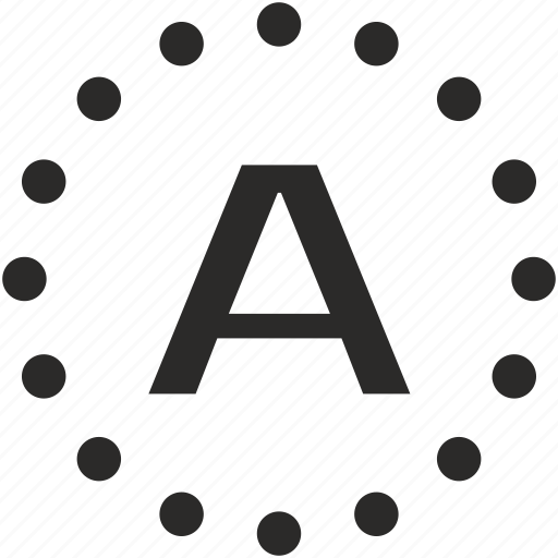 a, dots, key, latin, letter icon