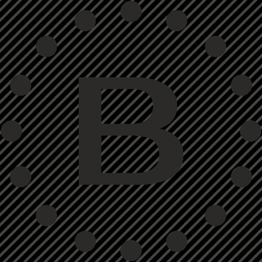 b, dots, key, latin, letter icon