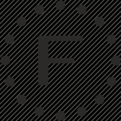 dots, f, key, latin, letter icon