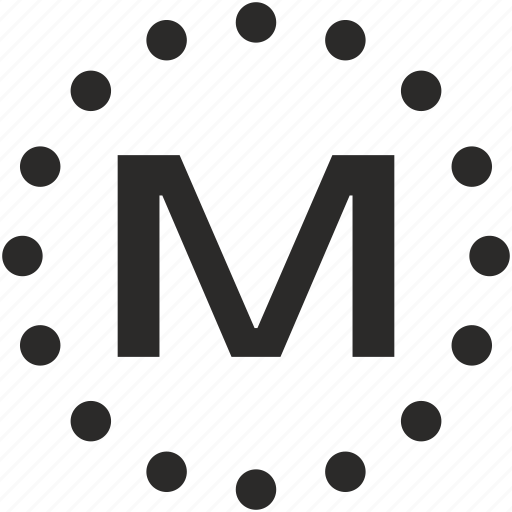 dots, key, latin, letter, m icon