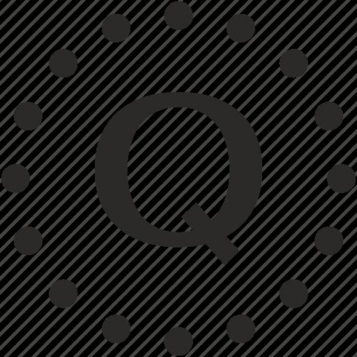 dots, key, latin, letter, q icon