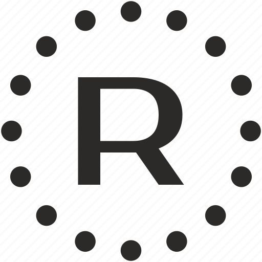 dots, key, latin, letter, r icon