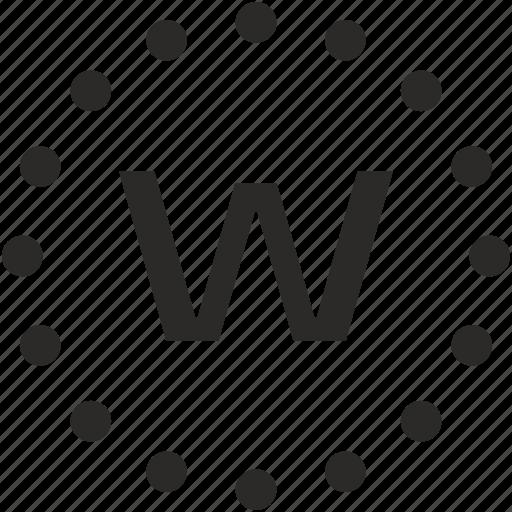 dots, key, latin, letter, w icon