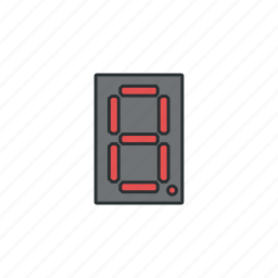 circuit, component, current, display, electronic, segment icon