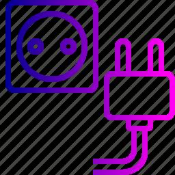electric, ground, jack, plug, power, socket, wire icon