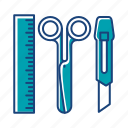 cutter, device, electronic, repair, ruler, scissor, tools icon