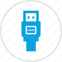cable, connect, data, electronic, gadget, hdmi icon