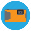 camera, compact, digital, orange, photo, water, watertight icon