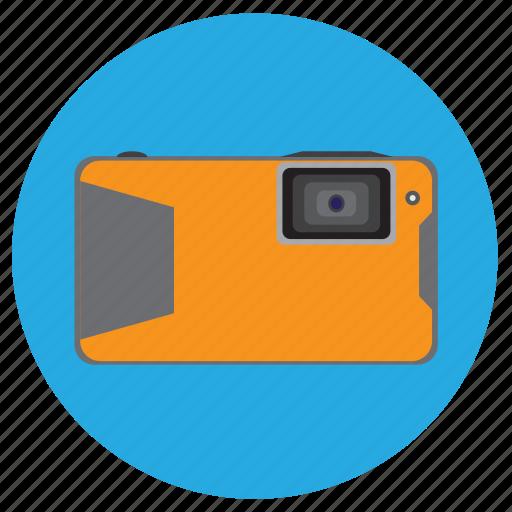 camera, compact, digital, orange, photo, water, watertight icon
