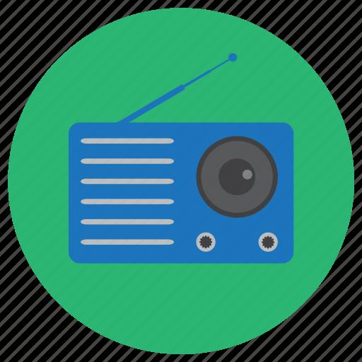 antenna, blue, electronic, old, radio, signal icon