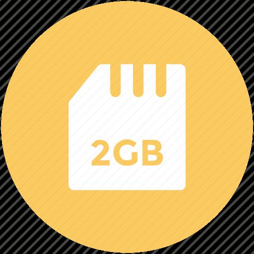 chip, data storage, memory card, microchip, microsd, sd memory, two gb icon
