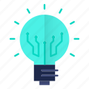 bulb, electronics, lamp, light, solution, technology icon