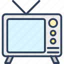 electronics, retro tv, tv, tv antenna, tv set icon