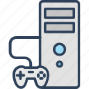 computer, computer game, desktop pc, gamepad, pc tower icon