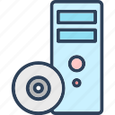 cd, computer, cpu, desktop pc, pc tower icon