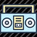 boombox, cassette player, cassette recorder, radio stereo, stereo